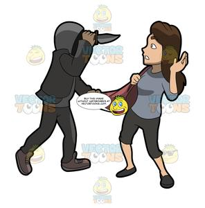 A Man Mugging A Woman With A Knife.