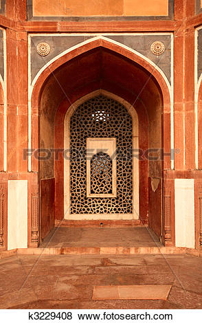Pictures of Arch with carved marble window. Mughal style.
