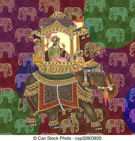 Drawings of Mughal Era Queen having Elephant ride with multiple.