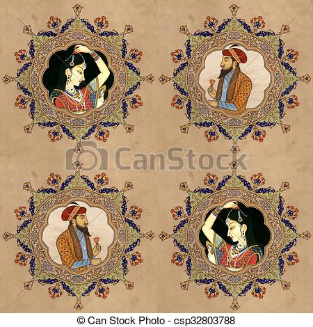 Mughal Illustrations and Clip Art. 200 Mughal royalty free.