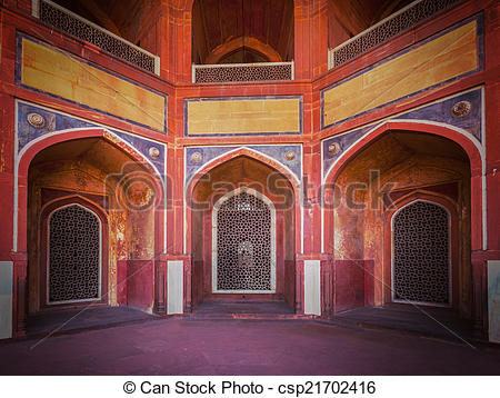 Stock Photography of Arch with carved marble window. Mughal style.