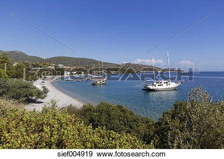 Stock Photograph of Turkey, Mugla, Gulf of Gokova, Boats in Hurma.