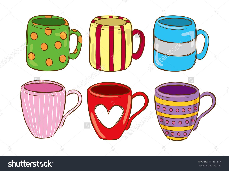 Cute mugs clipart.
