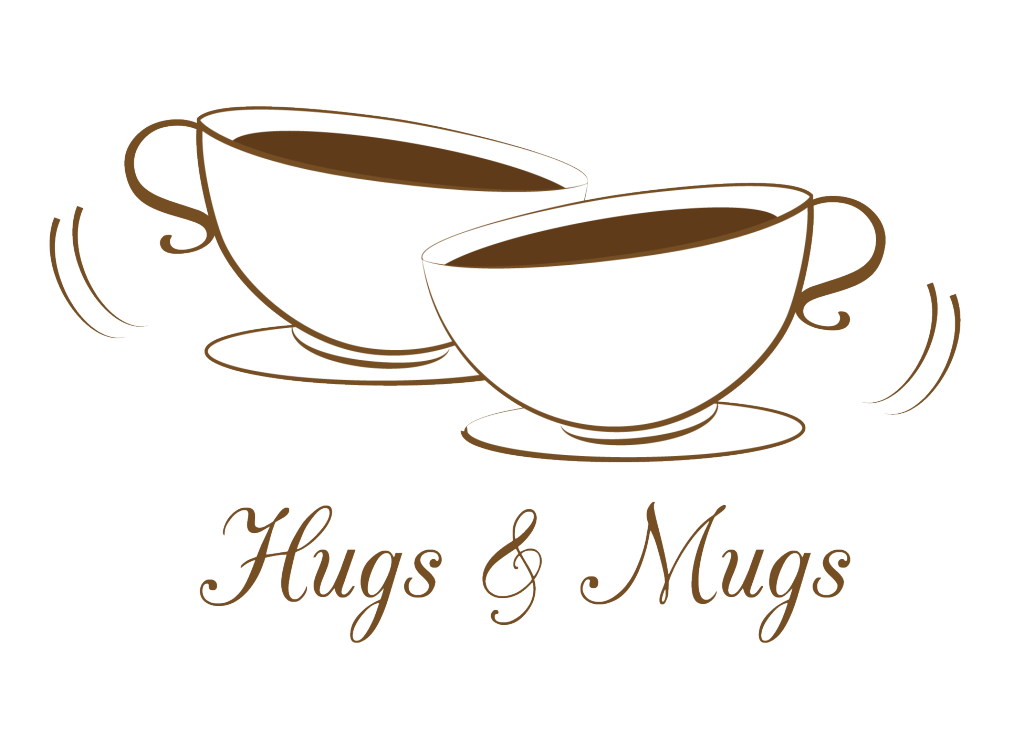 Hugs and Mugs logo for a coffee shop.
