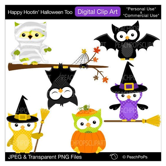 cute Halloween owls clip art digital clip art original, owls.