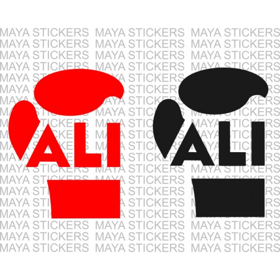 Muhammad Ali boxer glove logo stickers.