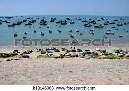 Stock Photo of Fishing boats in Mui Ne, Vietnam k13546063.