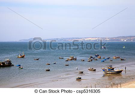 Stock Images of Mui Ne fishing village with a lot of boat.