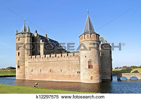 Stock Image of Medieval castle ?? Muiderslot?? at Muiden the.