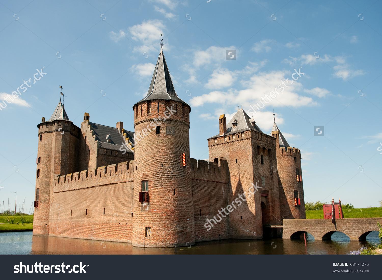 Dutch Castle Muiderslot In Village Muiden In Holland Stock Photo.