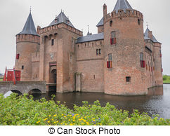 Stock Photography of Castle De Haar, The Netherlands, surrounded.