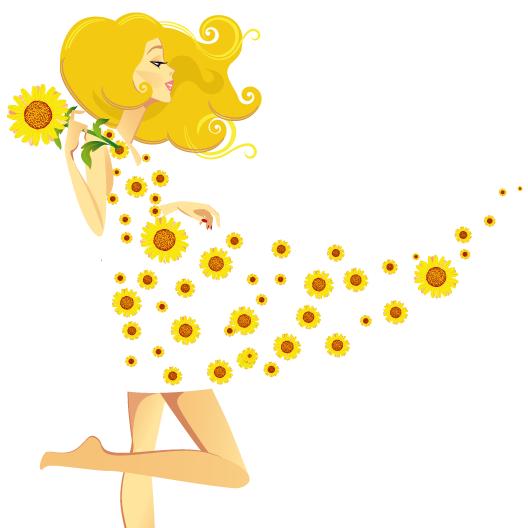 Vector Clipart: Mujer y brisa de primavera.