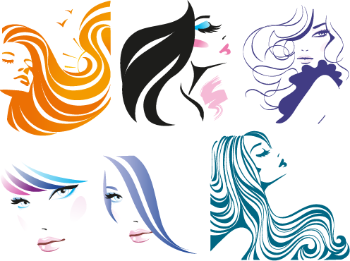 Vector Clipart: Rostros de Mujer pack 2.