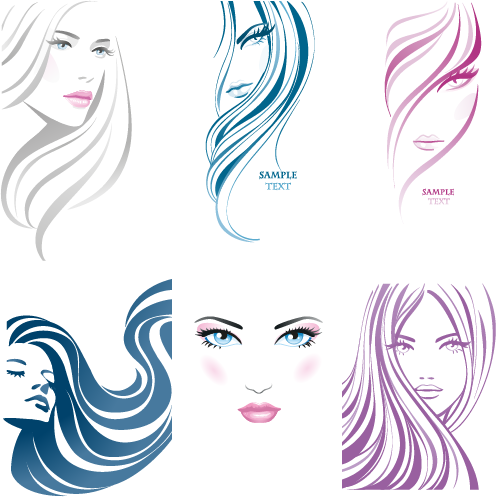 Vector Clipart: Rostros de Mujer pack 1.