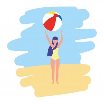 Mujer en traje de baño con ilustración de vector de pelota.