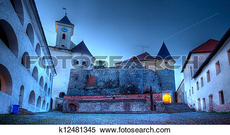 Stock Image of View of old Palanok Castle or Mukachevo Castle.
