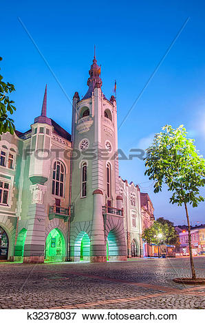 Picture of Evening view of the town hall Mukachevo k32378037.