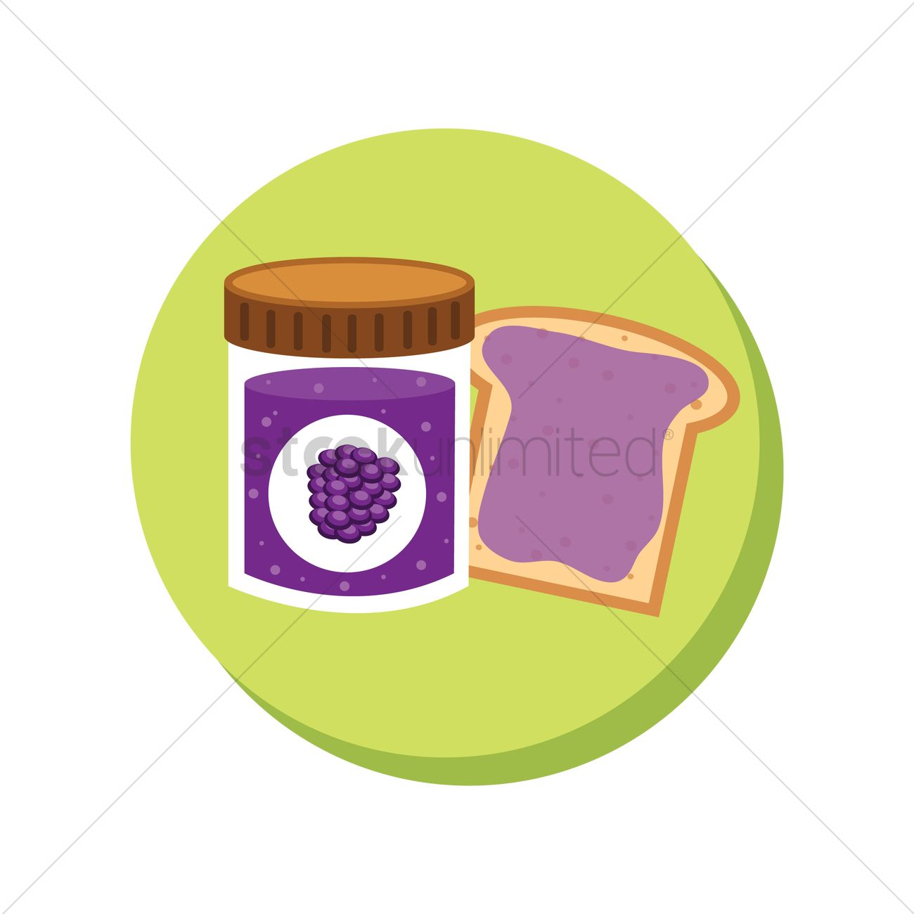 Mulberry jam and bread slice Vector Image.