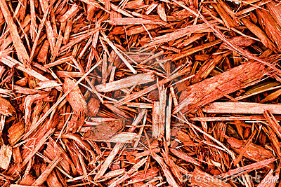 Red Cypress Mulch Stock Photo.