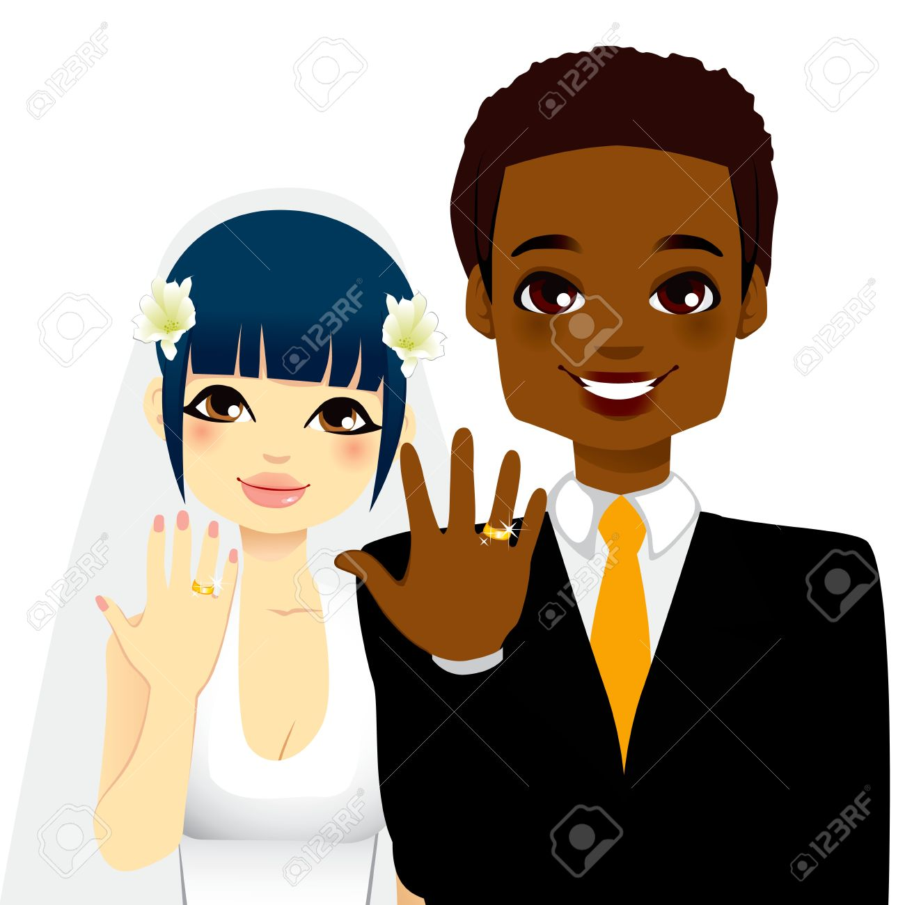 Newlywed Multi Ethnic Couple Showing Their Gold Wedding Rings.