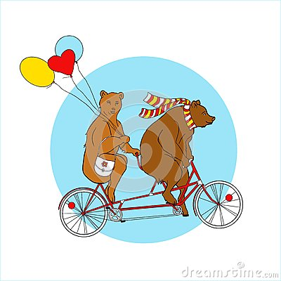 Couple On A Tandem Bicycle. EPS,JPG. Stock Vector.