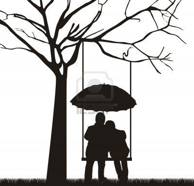 Tree swing couple silhouette.