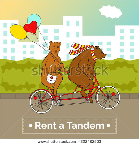 Couple On A Tandem Bicycle. Advertising For Bike Rental. Bears.