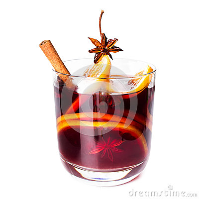 Red Mulled Wine For Winter And Christmas Stock Vector.