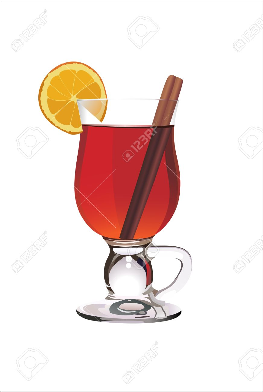 Hot Mulled Wine With Orange Slice And Cinnamon Sticks. Isolated.