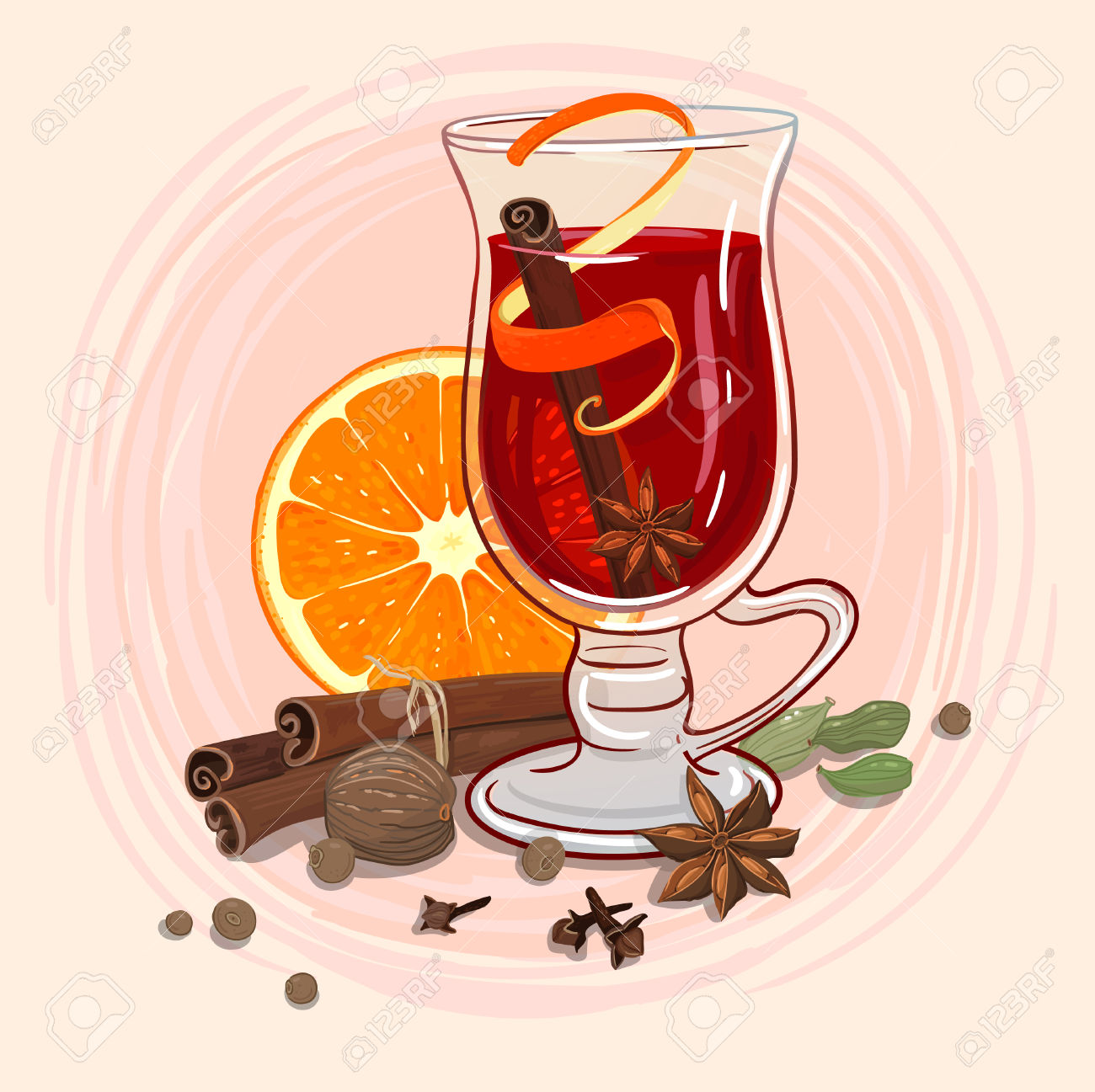 Mulled Wine In A Mug And Ingredients Around Royalty Free Cliparts.