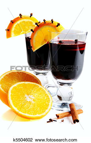 Stock Photo of Mulled wine in glass, decorated with orange.