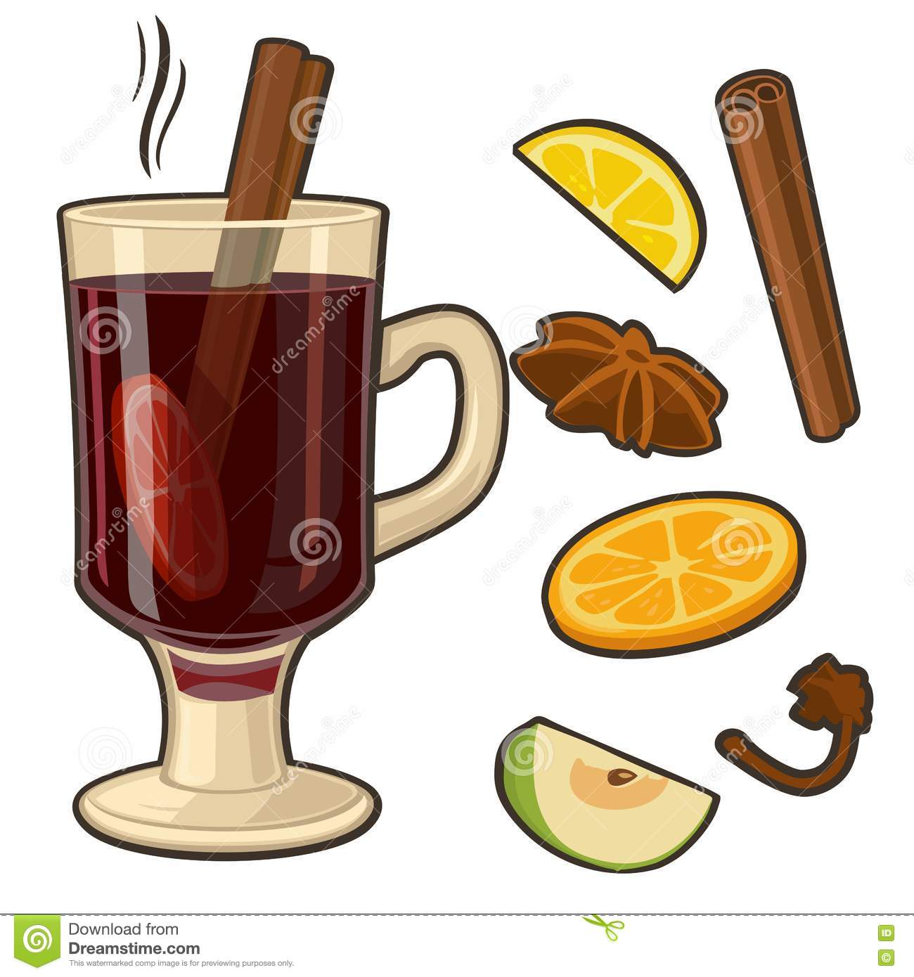 Mulled Wine With Glass Of Drink And Ingredients. Vector Flat.