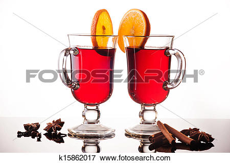 Picture of Mulled wine in two glasses on white k15862017.