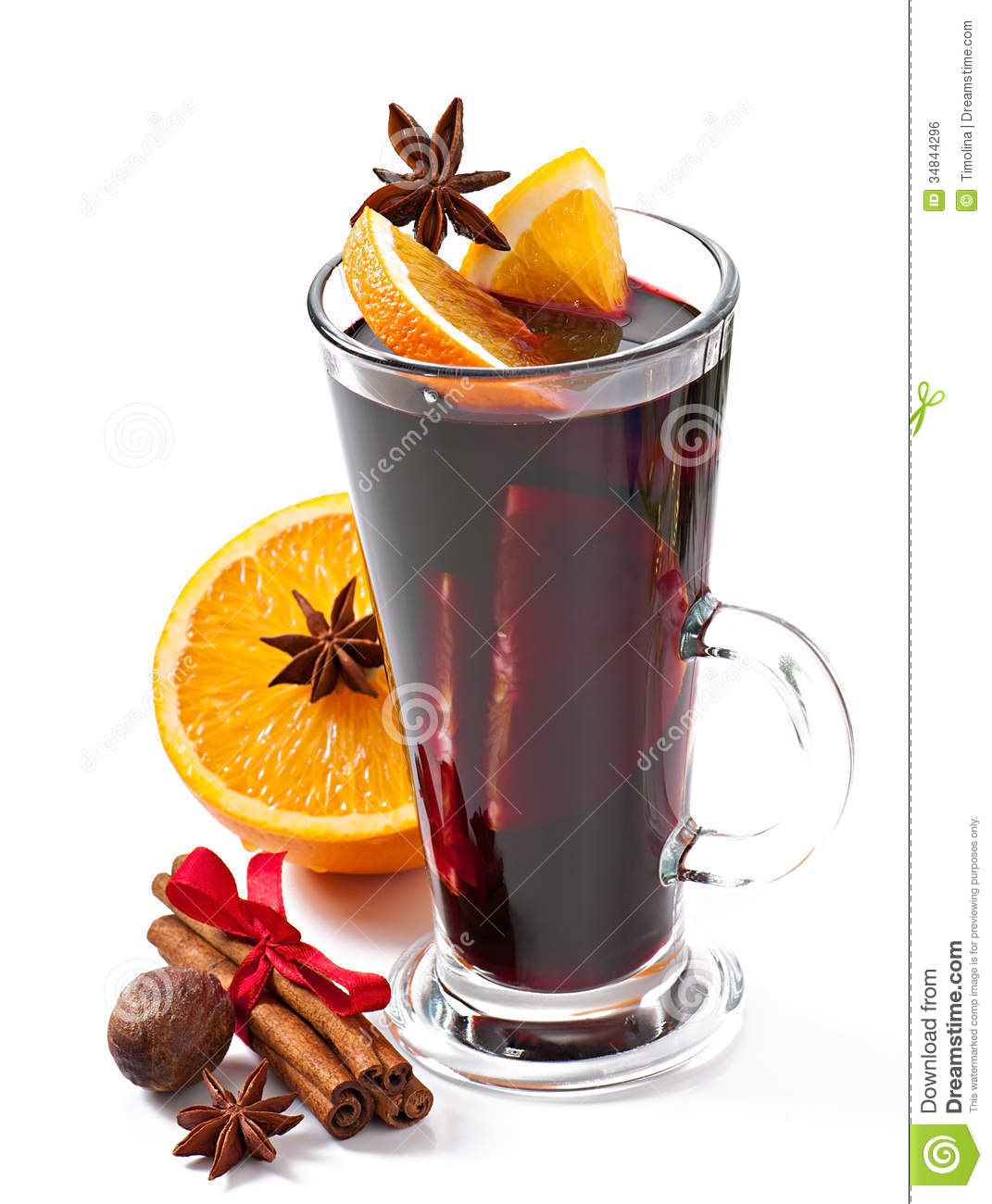 Christmas Mulled Wine In Glass Cup Royalty Free Stock Image.