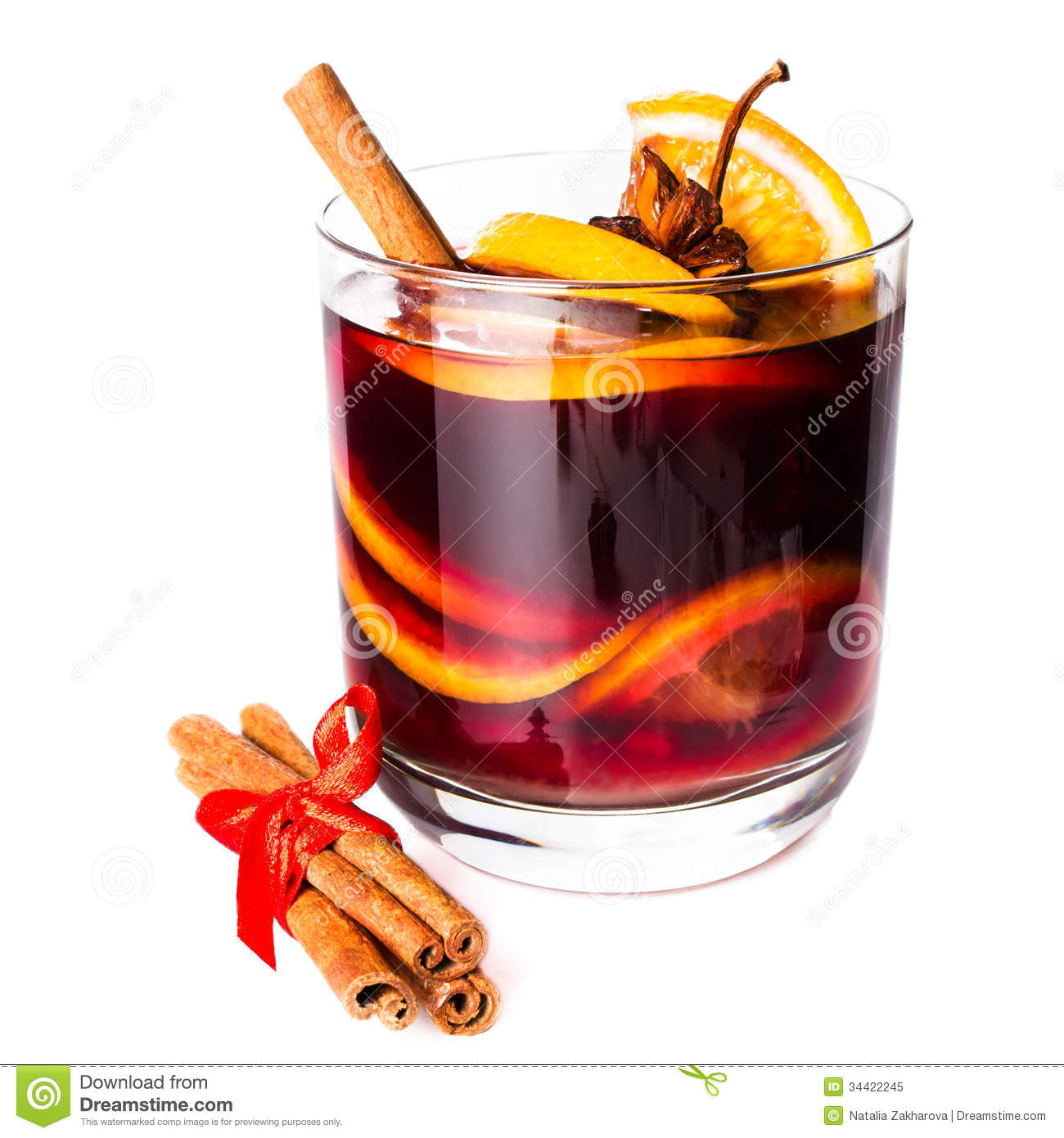 Cup Of Hot Red Mulled Wine Isolated On White Background With Chr.
