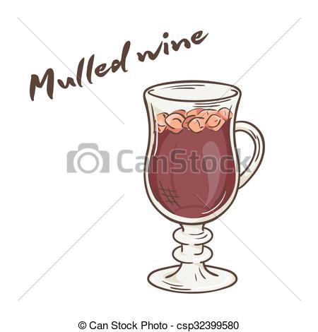 Vector of vector printable illustration of isolated cup of mulled.