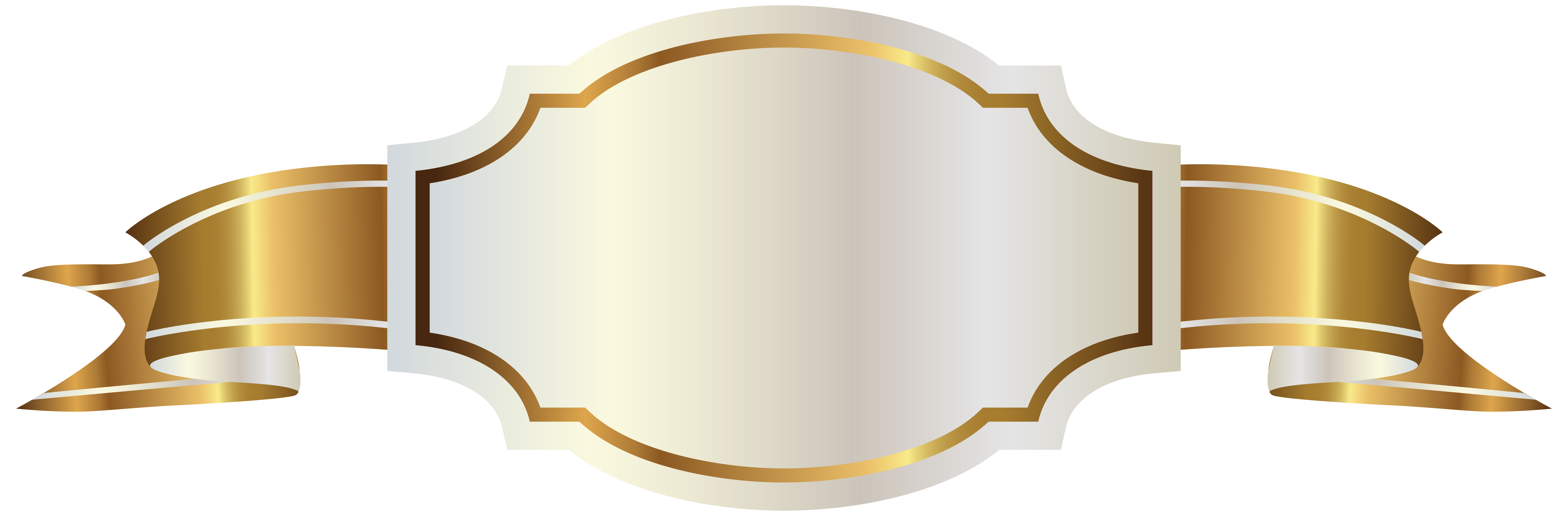 White Label and Gold Banner PNG Clipart Image.