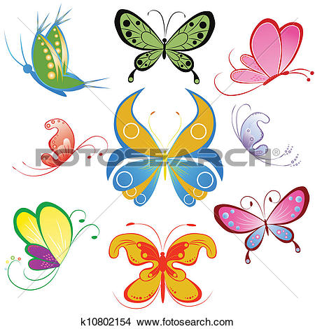 Clipart of Collection of different multicolored butterfly.