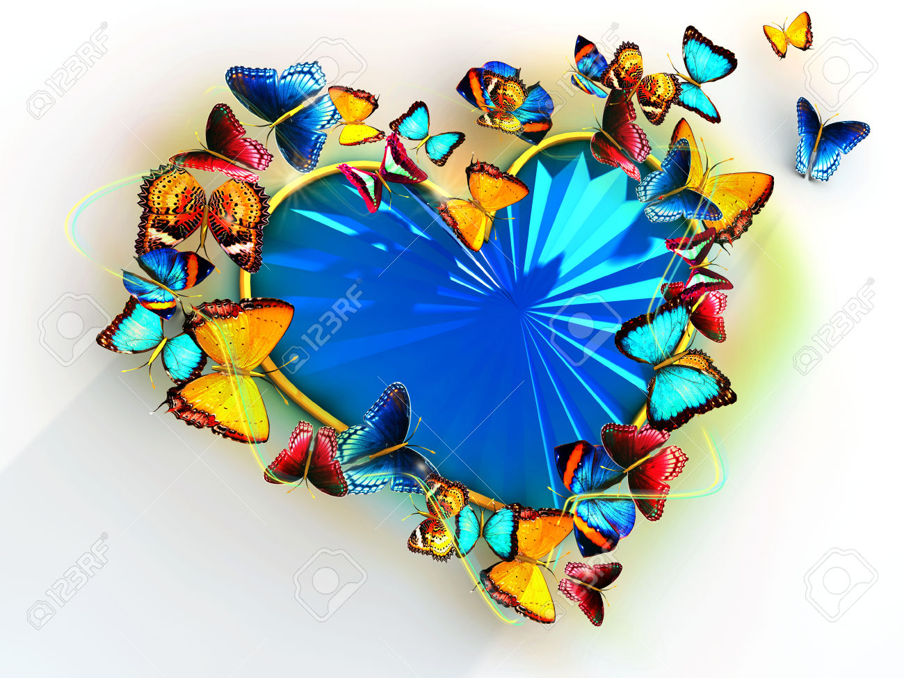 Multicolored Butterflies Flit Around The Heart As A Precious.