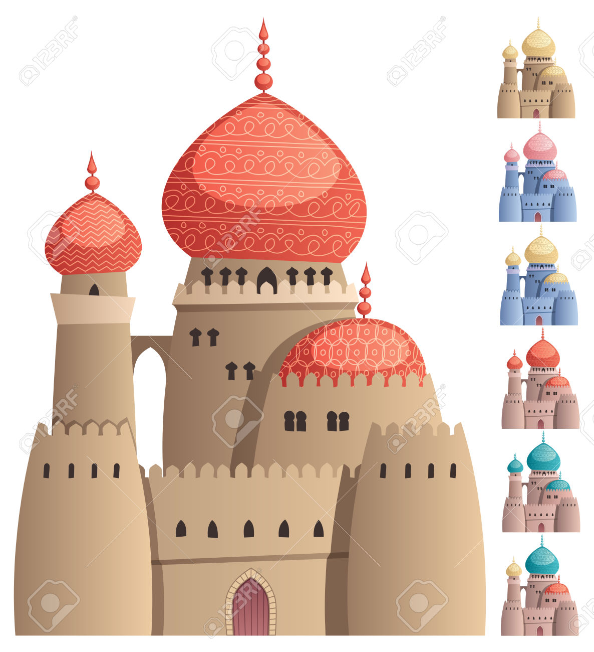 Cartoon Arabian Castle On White Background In 7 Color Versions.