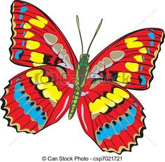 Vector Clip Art of Butterfly with opened multi.