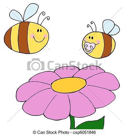 Clip Art Vector of Happy Bee Pollinating A Purple Dais.