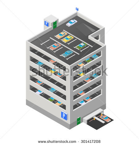 Vector Illustration Multistory Car Park isometric City Stock.