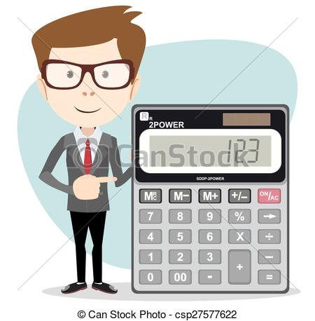 Vector Illustration of Accountant with a Calculator, Vector.