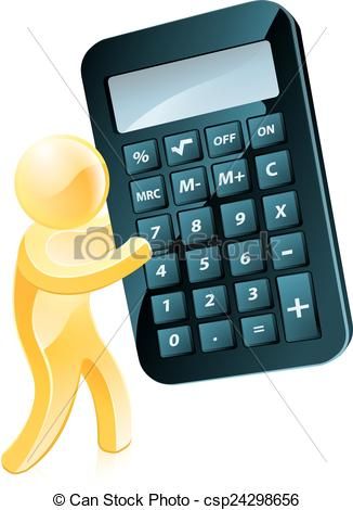 Clipart Vector of Gold man holding calculator.