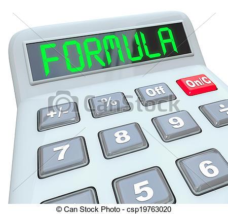 Clip Art of Formula Word Calculator Math Problem Figure Answer.
