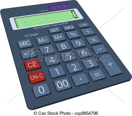 Clip Art Vector of Calculator in 3D.