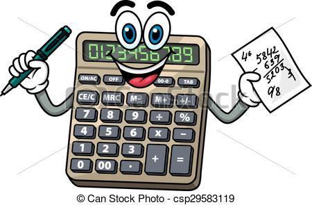 Vector Clip Art of Cartoon calculator with pen and note.