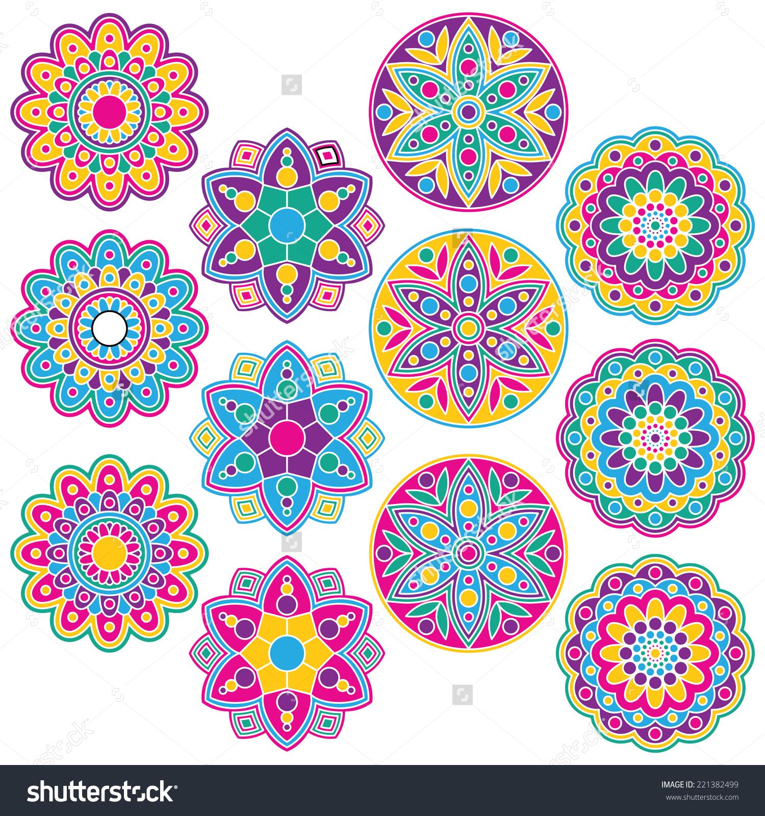 Multicolored Rangoli Clip Art Set Includes Stock Vector 221382499.