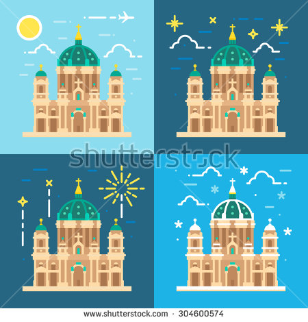 Multicolored Arabic City Character Islam Buildings Stock Vector.